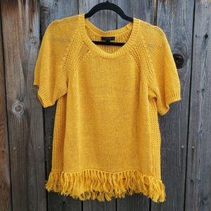 J. Crew Marigold Knit Fringe Short Sleeve Sweater